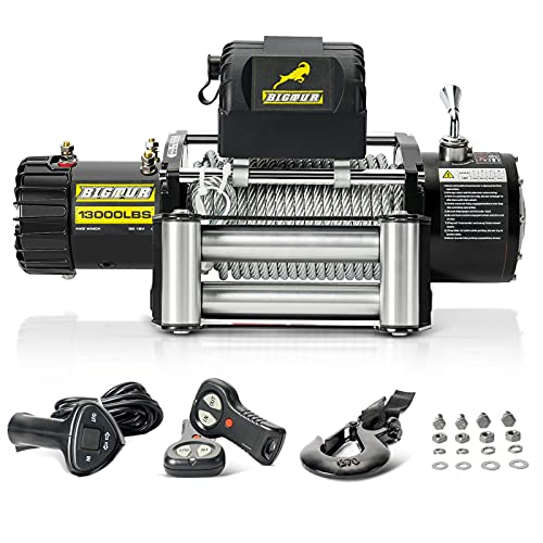 BIGTUR 12V 13000lb Electric Winch Towing Steel...