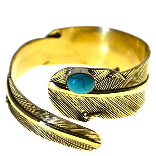 CHICNET Armreif Armspange als breite Feder aus Messing in Gold mit Türkis Stein in oval, Damen Herren Arm Schmuck, teils oxidiert, antik golden, Einheitsgröße