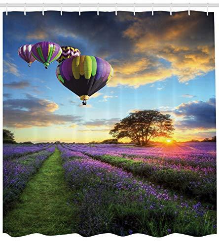 Baum in Lavendelblüten bei Sonnenuntergang Luftballon Duschvorhang für Badezimmer,wasserdichtes & schnelltrocknendes Polyester,hochauflösendes Muster,12Haken,183x183cm