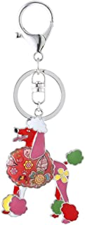 Marte&Joven Poodle Keychain for Women Dog Lover Unique Enamel Dog Jewelry Gift
