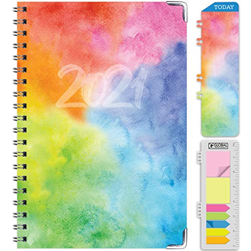 HARDCOVER 2021 Planner: (November 2020 Through December 2021) 5.5'x8' Daily Weekly Monthly Planner Yearly Agenda. Bookmark, Pocket Folder and Sticky Note Set (Rainbow Watercolors)