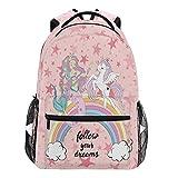 Oarencol Beautiful Unicorn Mermaid Mochilas Follow Your Dreams Pink Star School Book...
