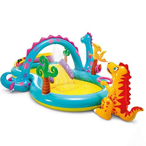 CRYPIN Aufblasbarer Dinosaurier-Wasserpark, Aufblasbarer Pool, Kleinkind- / Kinderwasserspielzeug Mit Rutsche