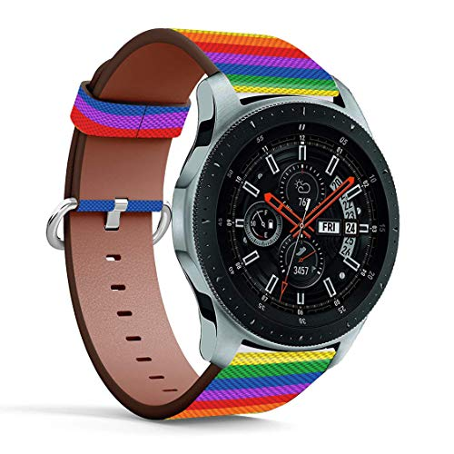 Replacement Leather Printing Wristbands Compatible with Galaxy Watch3 (45mm) / Galaxy Watch (46mm), Standard 22mm Strap - LGBT Rainbow Texture