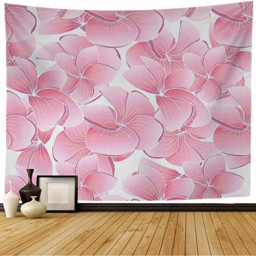 Tapestry Wall Hangings Texture Plumeria Nature Vintage Pink Pattern Endless Botanic Spa Herbal Wedding Holidays Design Wall Blanket for Bedroom Wall Decor 80X60inch