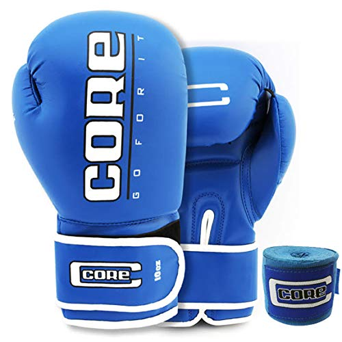 Core Boxing Gloves with Free Hand wrap Adult Sparring Training Boxing Gloves Pro Punching Heavy Bags mitt UFC MMA Muay Thai for Men & Women Fight Boxing Gloves and Kickboxing (Blue, 10)