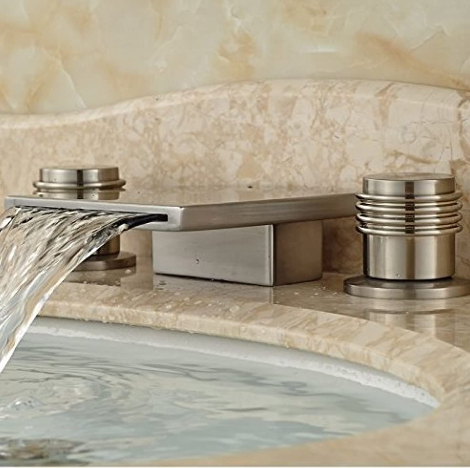 Washbasin Mixer Tap Waterfall Spout Basin Vessel Sink Faucet Brushed Nickel Deck Spent Mixer Batteries Mounted