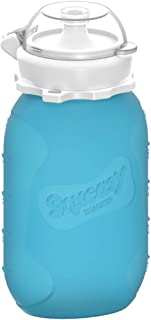 Blue 6 oz Squeasy Snacker Spill Proof Silicone Reusable Food Pouch - for Both Soft Foods and Liquids - Water, Apple Sauce,...