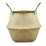 Natural Rattan de mimbre cesta tejida, plegable cesta de la flor Seagrass cesta del almacenaje de la cesta del almacenaje de paja con la manija para las plantas plantador de la flor de lavandería