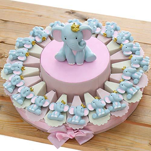 Elefantino Bimba Magnete con Corona Torta Bomboniere Nascita Pensierini Primo Compleanno Originali Bimba (Torta da 20 Pezzi)