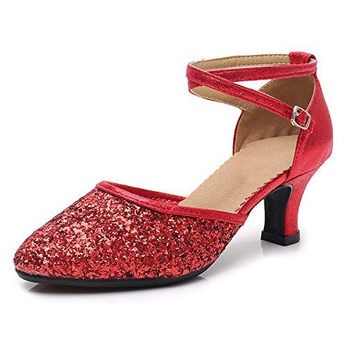 SWDZM Women's Ballroom Dance Shoes,Sequin Latin Salsa Dance Shoes,Rubber Outdoor Shoes,Heel-1.97'',Red 9 B (M) US