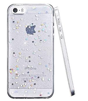 BAISRKE Glitter Case for iPhone 5 5s SE Slim Luxury Bling Glitter Sparkle Clear Transparent Soft TPU Bumper Back Cover Case for iPhone 5 5s SE - Clear