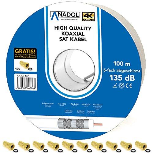 Anadol 5-fach Sat-Kabel HD TV - Brandschutzkabel Norm EN 50575 - 100m Antennenkabel - wetterfest - Satelliten-Kabel 135db - Eca zertifiziert - 10 F-Stecker [Gold] HD 4K UHD 3D