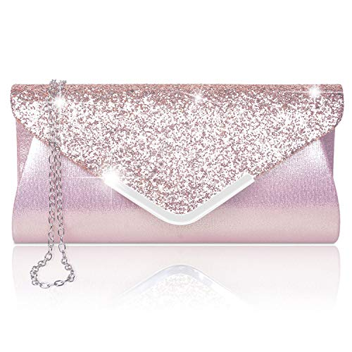 Larcenciel Damen Clutch Abendtasche Unterarmtasche Umhängetasche mit Strass-Steinen und abnehmbarer Kette in den Farben Silber Gold Altrosa(ROSA)