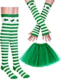 Boao St. Patrick's Day Costume Accessories Set Women Girl Party Accessory (1 Pair Arm Warmers, 1 Pair Socks, 1 Piece Skirt)