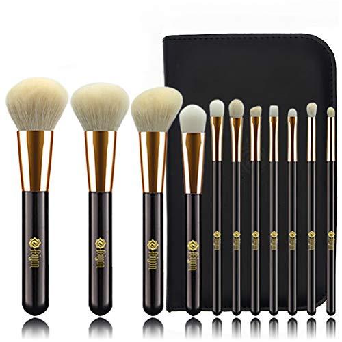 Kit de maquillage, 11 pinceaux de maquillage en fibres douces, poignées en bois, fond de teint pour le contour des yeux pour les lèvres avec sac en cuir PU