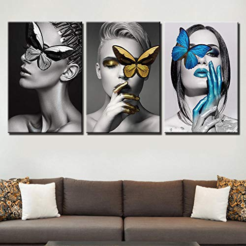 aoyukf Carteles Modulares HD Impreso Wall Artwork 3 Panel Butterfly Canvas Pictures Sexy Women Paintings Modern Home Decoration-35cmx50cmx3