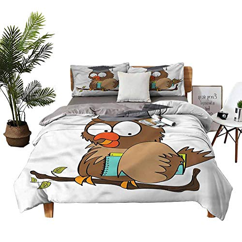 DRAGON VINES Bedding cover sets Cartoon Student Owl Cap King Size Sheets Solid color quilt cover W80 xL90