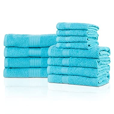 Superior Eco-Friendly 100% Ring-Spun Cotton, 12-Piece Bathroom Towel Set, Ultra Absorbent, Super Soft, Attractive Border, Turquoise