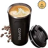 noma Thermobecher Kaffeebecher Für Unterwegs Coffee to Go 500 ml 100% Auslaufsicher aus Edelstahl mit Doppelwand Isolierung | BPA Freier Travel Mug für Kaffee Oder Tee (Schwarz)