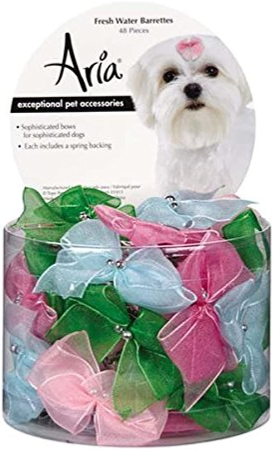 Aria 48Piece Fresh Water Dog Barrette Canister Set