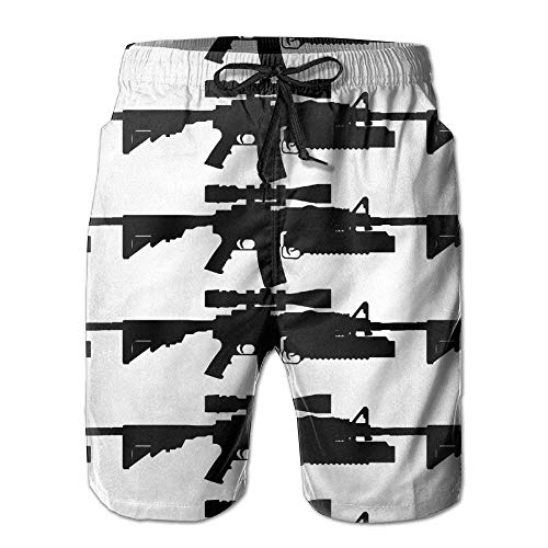 Einst Sniper Rifle Gun Quick Dry Lace Boardshort Surf Beach Board Shorts Pants Swim Trunks Trendy Boys Swimsuit with Pockets