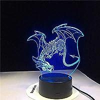 3Dイリュージョンナイトライト子供の照明ドラゴン7色変更タッチリモート寝室ナイトライトギフト子供のための誕生日Usb充電