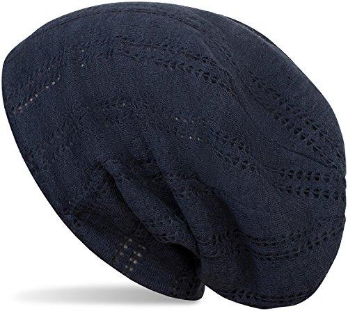 styleBREAKER Beanie Mütze mit Lochstrick Muster, Vintage Slouch Longbeanie, Unisex 04024095, Farbe:Dunkelblau