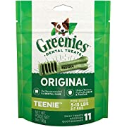 Greenies Original Dental Dog Treats, Teenie Size for Dogs 5-15 Lbs, 3 Oz Pouch (11 Treats)