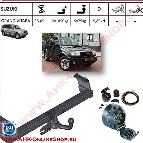 ATTELAGE avec faisceau 7 broches | Suzuki Grand Vitara de 1998 à 2004 / crochet «col de cygne» démontable avec outils