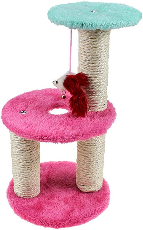Double Cat Tree Pet Furniture Grab Post Play Tower Cat Climbing Frame Kitten Climber Rock Climbing Sports Belt Hanging Toys
