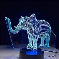 ナイトライトLEDナイトライトダンスエレファント7色ライトホームデコレーションランプアメージングビジュアライゼーション目の錯覚-タッチ
