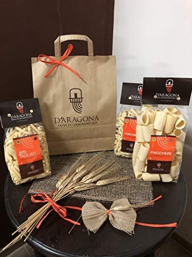 PASTA D'ARAGONA GRAGNANO IGP - PACCO CAPRI (Paccheri lisci - Spaghetti - Fusilloni - Casarecce - Rigatoni) - trafilata in bronzo - Pack 10 x 500 GR