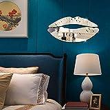 2 Set 3D Beso Labios Espejo Pegatinas de Pared Mural Acrílico DIY Art Decals Home Room Decor (Plateado)