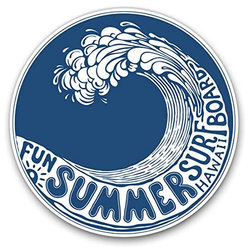 Pegatinas de vinilo (juego de 2) 7,5 cm - Hawaii Wave Summer Surfboard Surf #9217