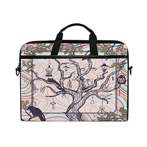 Laptop Sleeve Case,Laptop Bag,Old Tree Antique Keys Lamps Clocks Water Briefcase Messenger Notebook Computer Bag with Shoulder Strap Handle,29×40 CM/15.6 Inch
