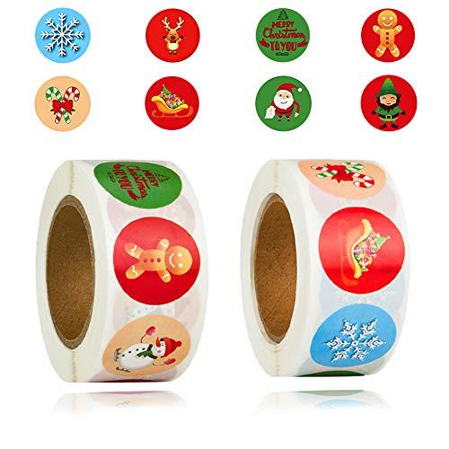 SUNSK Pegatinas de Navidad Etiquetas de Navidad Pegatinas reno árbol de Navidad Etiqueta Adhesiva Pegatinas para Sello Scrapbooking 1000 Piezas