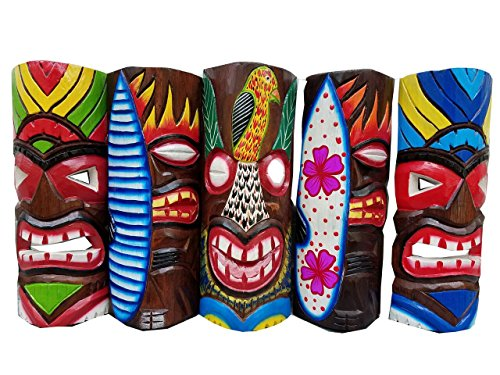 Tiki Masken aus Holz, handgeschnitzt, 30,5 cm hoch, 5 Stück