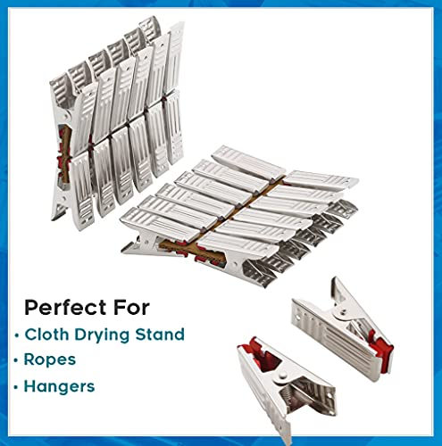 SYNERGY - Heavy Duty Rust Free Stainless Steel Cloth Clips/Cloth Peg/Cloth Drying Pins/Pegs for Hanger/Rods/Ropes/Drying Clothes (18 Clips with Box) (SY-CC1)