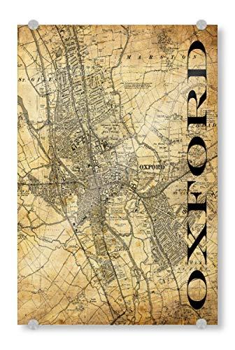artboxONE Acrylglasbild 120x80 cm Typografie Retro Map Oxford Sepia Bild hinter Acrylglas - Bild Karte map Stadt