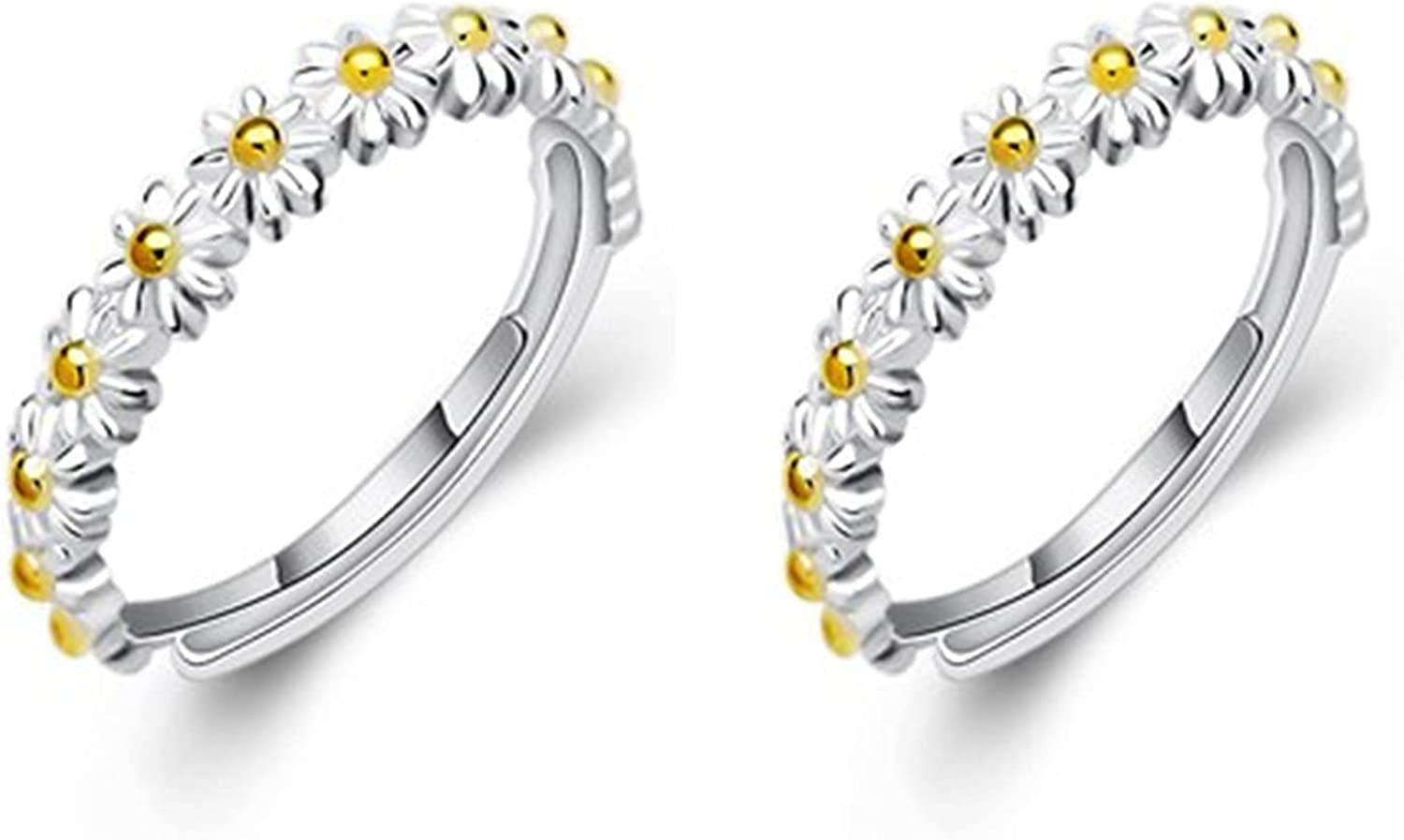 2 Pcs Little Daisy Flower Ring - I Think About You Ever Daisy Ring Wedding Band Ring Personality Adjustable Hawaiian Wish Promise Jewelry for Women Girls