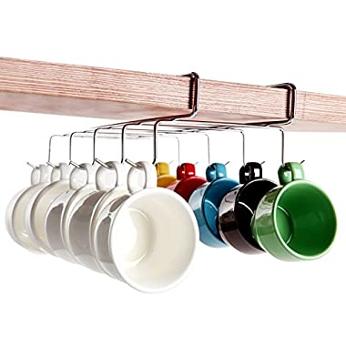 Under-the-Shelf 10 Hook Espresso Cup Storage Drying Rack / Silver-Tone Metal Small Teacup Holder