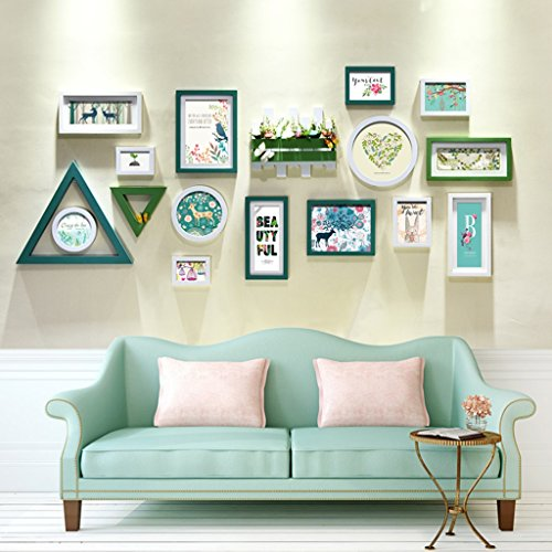 Home@Wall photo frame Photo Wall Creative Combination Of Modern Minimalist Living Room Bedroom Photo Frame Wall Solid Wood Wall Decoratio Photo Wall (Color : D, Size : 95210cm)