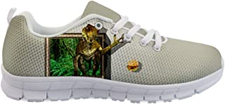 Owaheson Boys Girls Casual Lace-up Sneakers Running Shoes Jurassic Tyrannosaurus Rex Longing for Burger