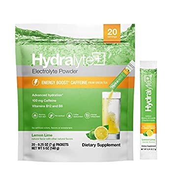 Hydralyte Energy Boost Lemon Lime 20 Stick Pack B12 & B6 Vitamins Natural Caffeine Vitamin C & Zinc Electrolyte Powder Packets