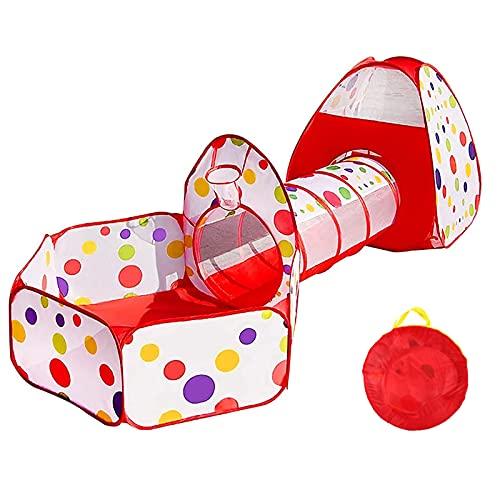 Namiot do zabawy dla dzieci z tunelem i namiotem do zabawy, 3-częściowy tunel do namiotu dla dzieci, tunel do namiotu do zabawy Basen z piłeczkami Pop-up zabawki dla dzieci w pomieszczeniach na zewnątrz