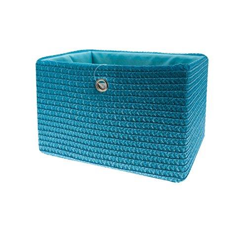 FRANDIS 181101 Paniers de Rangement Bleu Matière : PP + térylène à l'intérieur, poignée en INOX Dim Produit : 33 x 26 x 23 cm