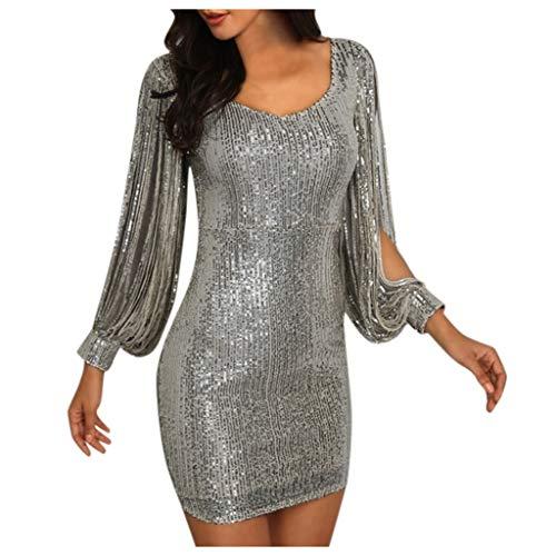 Mlide Womens Elegant v Neck Sequin Tassel Long Sleeve Boydycon Shkirt Cocktail Party Dresses,Silver,M