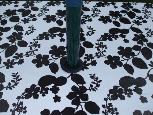 THE TABLECLOTH COMPANY 140 x 250 cm Ovale en PVC/Vinyle Nappe – Blanc avec Fleur Noir avec Trou de Parasol