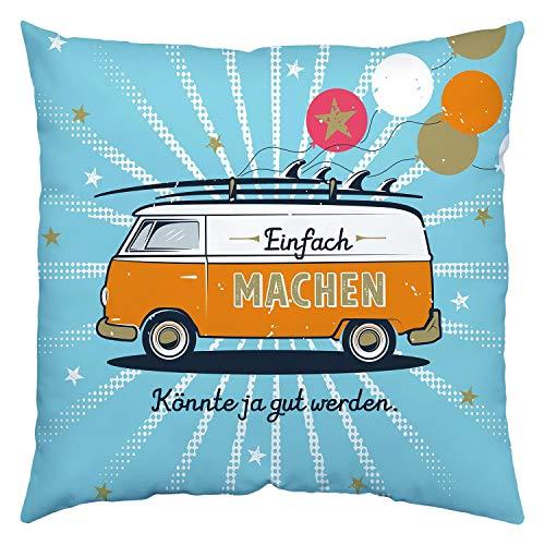 H:)PPY life 46424 Baumwoll-Kissen Bus, Einfach machen, 40 cm x 40 cm, Zierkissen, Organge